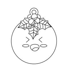 Happy merry christmas ball kawaii style vector