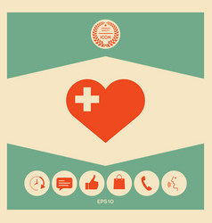 heart with medical cross vector image