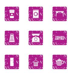 Housemaid icons set grunge style vector