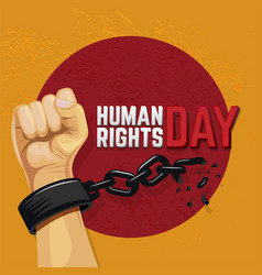 Human rights day with raised hand vector