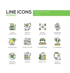 Internet - flat design line icons set vector image