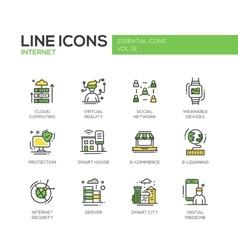 Internet - flat design line icons set vector