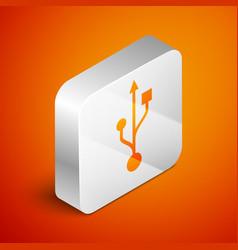 Isometric usb symbol icon isolated on orange vector