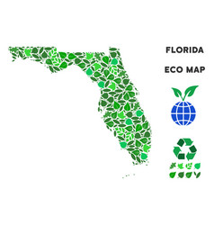 Leaf green collage florida map vector