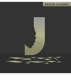 Letter J Broken mirror vector