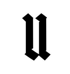 Letter u in gothic style alphabet symbol vector