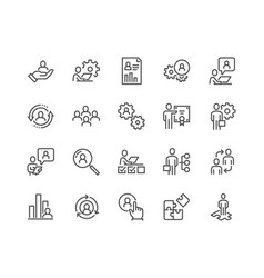 Line business management icons vector