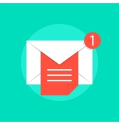 Mail notice with white letter and red sheet vector