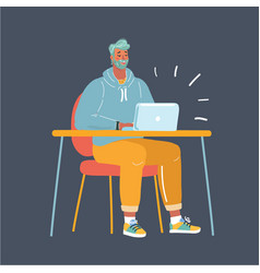 man working late night vector image