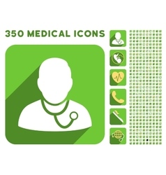 Medic Icon and Medical Longshadow Icon Set vector