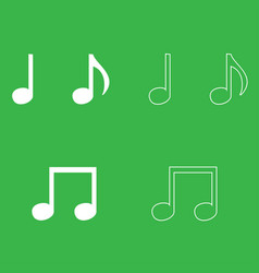 music note set icon white color vector image
