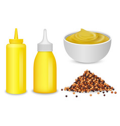 mustard sauce bottle icons set realistic style vector image