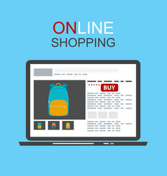 Online shopping concept flat background with vector