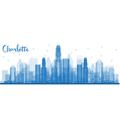 Outline charlotte north carolina skyline with vector