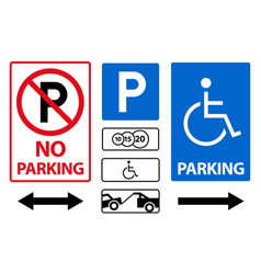 parking sign icon set paid and for disabled vector image