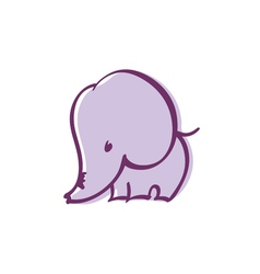 pastel color cute violet elephant vector image