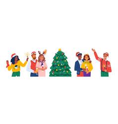 people having fun on xmas party christmas fun vector image