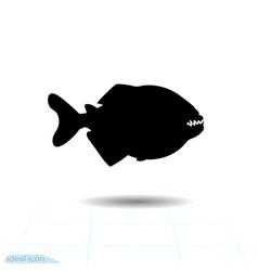 piranha pacu fish icon symbol aggressive vector image