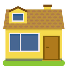 Private house with a orange roof and yellow walls vector