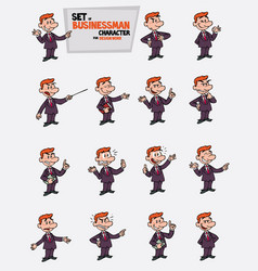Red hair businessman set of postures of the same vector
