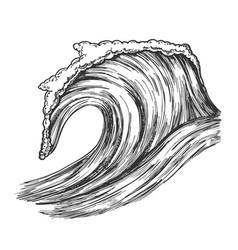 Rushing tropical ocean marine wave storm vector