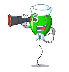 Sailor with binocular green ballon with cartoon vector