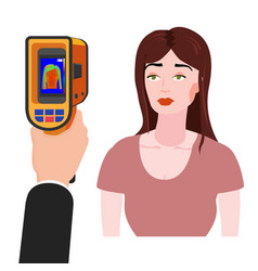 Scanning a person female with thermal scaner for vector