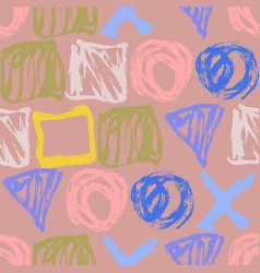 Seamless hand drawn pattern with abstract shapes vector