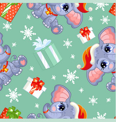Seamless pattern with baby christmas elephant vector