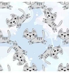 seamless pattern with cute kittens on a vector image