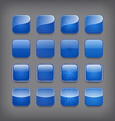 Set of blank blue buttons vector