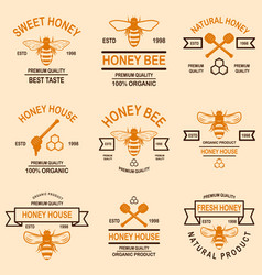 set of honey emblems design element for logo vector image