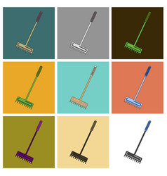 Set of icons in flat design rake vector
