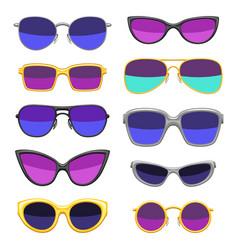 set stylish sunglasses vector image