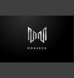 silver m logo m letter icon design vector image