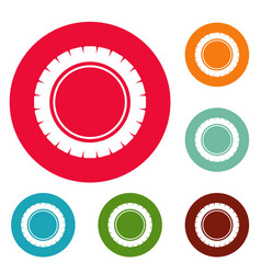 single tire icons circle set vector image