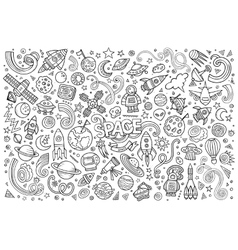 Sketchy hand drawn doodles cartoon set of vector image