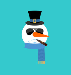 Snowman serious with cigar emoji face emotion vector