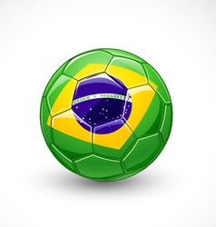 Soccer ball with brazil flag vector