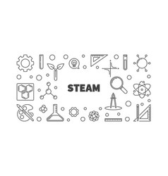 Steam concept minimal outline banner or vector