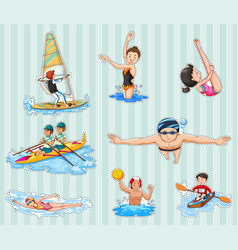 sticker set with athletes doing sports vector image