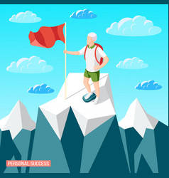 Summited peak success background vector