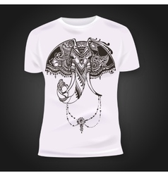 T-shirt print design with hand-drawn mehendi vector image