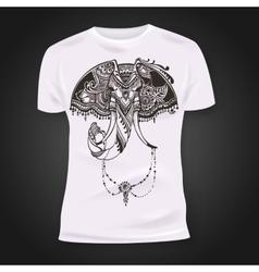 T-shirt print design with hand-drawn mehendi vector