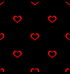 tile pattern with red hearts on black background vector image