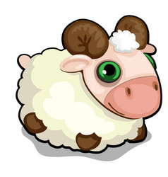toy sheep with green eyes isolated on white vector image
