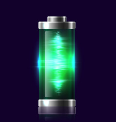 transparent charged batteries with electric charge vector image