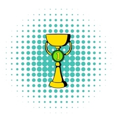 Trophy cup icon comics style vector image