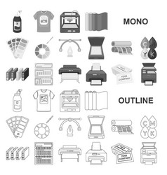Typographical products monochrom icons in set vector