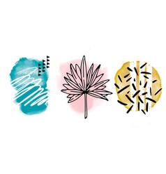 vivid leaves doodles creative minimalist art vector image
